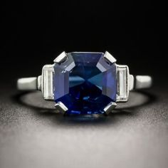 An absolutely gorgeous square-cut (octagonal) sapphire, weighing 4.32 carats, is suffused with a majestic Kashmir-like essence in this elegantly understated Art Deco jewel hand-fabricated in platinum - from Sweden (circa 1930)! The enchanting gemstone (about as blue as imaginable) is accompanied by a gemological report from the GCS - Gemmological Certification Services (London UK) stating: Natural. No indications of heating. Ceylon origin. Superb and seriously stunning. Currently ring size 8…