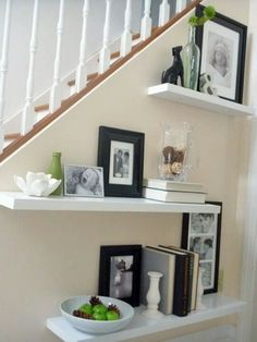 Floating shelves plus photos; pictures - STYLING IDEAS for above home office…