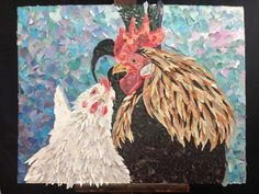 Fine art - collage Valentines Cock/ rooster - Recycled Magazine Art by Shelley Schenker