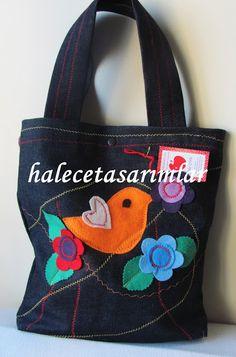 halecetasarımlar: Özel_siyah kot üzerine keçe kuşlu çantalar #keçecanta #kotçanta #hediyeçanta #özel tasarım