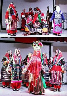 Traditional outfits (one bridal and several festive costumes) from the Dursunbey district (east of Balıkesir).  Clothing style: mid-20th century.