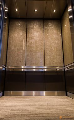Elevator Cab Pulp Studio Glass Panels With Bronze Woven Metal Mesh Elevator Lobby Cab
