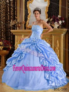Blue Beaded Quinceanera Dress in Taffeta and Tulle
