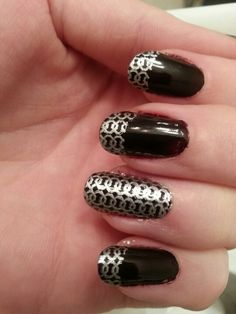 maroon with silver nail stamp