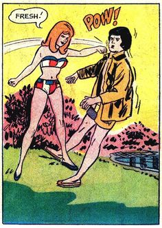 (Comics are one thing, but remember, violence in reality is very wrong, folks! Vintage Pop Art, Vintage Comic Books, Vintage Comics, Funny Vintage, Old Comics, Comics Girls, Romance Comics, Comic Book Panels, Girl Fights