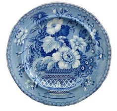 Wonderful blue plate made in Stoke on Trent mid-18th century