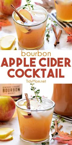 Bourbon Apple Cider, Apple Cider Cocktail, Bourbon Drinks, Bourbon Cocktails, Fall Cocktails, Cocktail Drinks, Apple Cider Alcohol, Bourbon Recipes, Cocktail Recipes For Fall