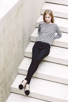 black and white classic ensemble: striped tee, skinny pants, loafers