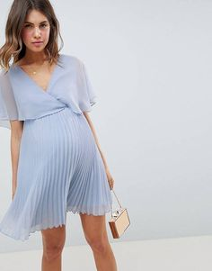 ASOS DESIGN Maternity Mini Dress With Pleat Skirt And Flutter Sleeve