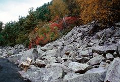 Rocks along a trail at Devil's Lake State Park.