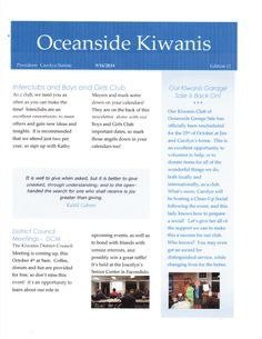 Cover of September, 2014 Newsletter for Kiwanis Club of Oceanside