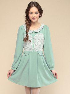 Sweet Light Sky Blue Acetate Lace Peter Pan Collar Long Sleeves Skater Dress