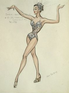 VINTAGE SKETCH—Edith Head design for Zsa Zsa Gabor in 3 RING CIRCUS (1954 Paramount) // my own note: this is credited to Edith Head, but bears Pat Barto's name. Perhaps Pat was working under Edith?