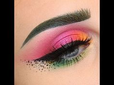 Green & Pink Eye with Dot Fading Wing   beccaboo - YouTube