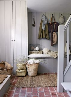 House Board Interior Design Trends For 2020 Mudroom bench under window. Basket for each pers House basket bench Board Design Interior mudroom Mudroom bench under window pers Trends Window Mudroom Organization, Furniture, Boot Room, Interior, Floor Design, Room Organization, Interior Inspiration, Home Decor, House Interior