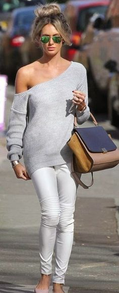 Grey Off Shoulder Top with White Pant | Street Styles I think this would look better with some heels