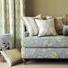 Pinch Pleated Drapery Panel in the fabric Fioretto in the color Sprout. Vincent.  Love the fabric on the sofa!