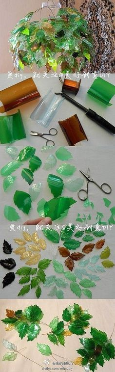 Another recycling DIY - Leaves made from used plastic bottles. This gives SUCH an amazing effect. I think you have to score them for the leaf veins or something. Why not do different shapes. by Morwen Plastic Bottle Crafts, Recycle Plastic Bottles, Plastic Recycling, Recycled Bottles, Recycled Crafts, Recycled Glass, Fun Crafts, Arts And Crafts, Plastic Flowers