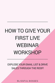 How to give your first live webinar workshop! Grow your email list rapidly and increase sales with this free 30 minute masterclass. Click through to get my webinar checklist and watch the masterclass!