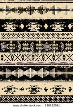 Aztec Navajo Indian carpet pattern grunge vector illustration - stock vector