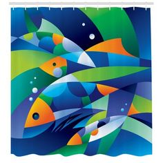 Wrought Studio Keeney Abstract Digital Geometric Pieced Fish With Circle Curves Depths of Ocean Decor Single Shower Curtain Size: H x W Fish Design, Arte Pop, Fish Art, Silk Painting, Geometric Art, Illustration, Art Drawings, Art Projects, Abstract Art