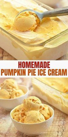 Ice Cream Pies, Ice Cream Desserts, Köstliche Desserts, Frozen Desserts, Ice Cream Recipes, Healthy Pumpkin Ice Cream Recipe, Frozen Treats, Ice Cream Flavors, Ice Cream Maker