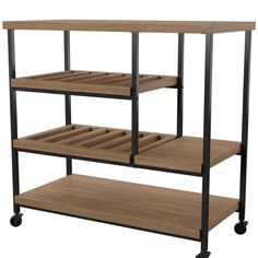 Mercury Row Comet Kitchen Cart with Wooden Top Kitchen Island Cart, Kitchen Tops, Kitchen Chairs, Rolling Kitchen Cart, Contemporary Kitchen Island, Slatted Shelves, Wood Shelves, Hamptons Kitchen, Stainless Steel Counters