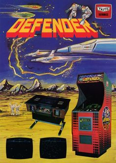 The Arcade Flyer Archive - Video Game Flyers: Defender, Taito Vintage Video Games, Classic Video Games, Retro Video Games, Vintage Games, Retro Games, Flipper, Retro Arcade, First Video Game, Video Game Art