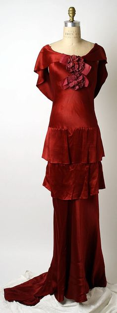"""Red silk evening dress by Mainbocher, French, ca. 1933. Label: """"Mainbocher, 12 Ave. George V, Paris"""" by Queen of them all"""