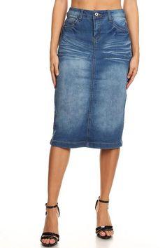 Blue Skirt Polyester Pencil Skirt Elastic Stretch Waistband Back Slit Vintage Distressed Women/'s Medium