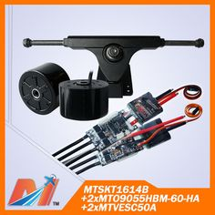 Maytech (10% OFF) 2pcs open source VESC ESC, 2pcs 90mm electro skateboard motor-wheel, 1pcs truck