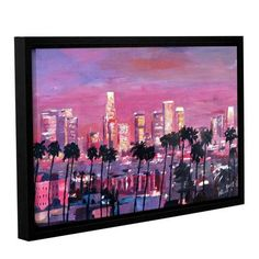 """ArtWall Los Angeles Golden Skyline by Marcus/Martina Bleichner Framed Painting Print on Wrapped Canvas Size: 24"""" H x 36"""" W"""