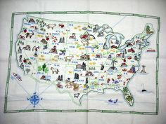 Vintage Hand Embroidered Sewn Sampler Map of The United States of America USA | eBay