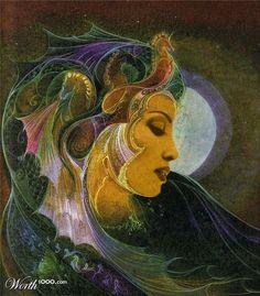 Jennifer Lopez as Sedna, Inuit Goddess of the Sea. Original painting by Susan Seddon Boulet. Goddess Of The Sea, Goddess Art, Sacred Feminine, Mystique, Mermaid Art, Visionary Art, Illustrations, Gods And Goddesses, Mythical Creatures