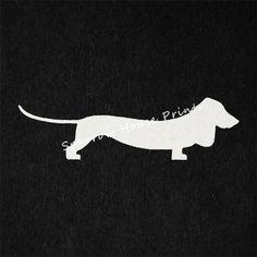 Antique Dachshund Vintage Print Wiener Dog Silhouette Dog Print Offwhite Paper Charcoal Black Background No.2116 B41 8x8 8x10 11x14 @ sparrowhouseprints.etsy.com