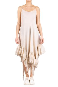 A dust coloured ruffled dress from Marc Le Bihan hand crafted from silk featuring a fitted waist, flared skirt and a mid-length style with raw hemmed ruffles. Ruffle Dress, Ruffles, Ml B, Flared Skirt, Mid Length, Wearable Art, Kensington London, Silk, Unique Fashion