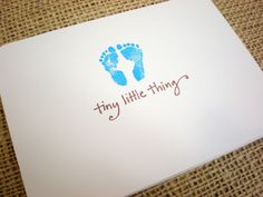 Handmade Baby Boy Card with envelope - simple blue footprints hand stamped baby card - Free shipping to US. $4.00, via Etsy.