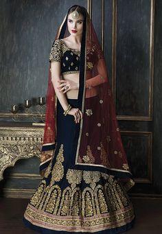 Dark Blue #Velvet #Lehenga #Choli Dupatta with intricate embroidery