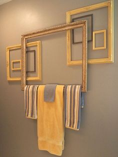 Instead of installing new towel bars in her bath, Margo, of the blog Margo's Junkin Journal, put in a repurposed frame. To make sure there'd be enough space to hang the towels between the frame and the wall, she used other frames in various sizes as spacers.Find her instructions on how to re-create the look: Towel Bar From Frames, How to