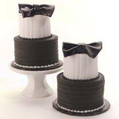 White and Black Mini Tuxedo Tier Cakes #wedding