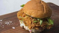 Guys, not only is this fried chicken, but the batter includes tortillas. And it's on a brioche bun. You're welcome.