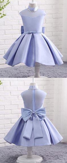 In Stock Modern Organza & Satin High Collar Neckline Ball Gown Flower Girl Dresses With Bowknot & Beadings