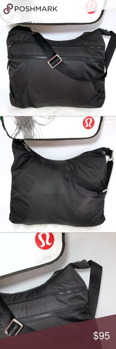 Lululemon on the go gym tote Shoulder bag black Lululemon on the go gym bag. Tote. Shoulder bag. Duffle bag. Two front zippered bags. Inside compartments. Some scuffs on the bottom. The inside is lime green. There are some stains / spots on the inside. I hand washed it with regular detergent but they didn't come out. Afraid to use other products and damage it. Bag is clean but with stains. Hardware shows wearing. Make sure you zoom in pictures to see the flaws before buying.  Feel free to…