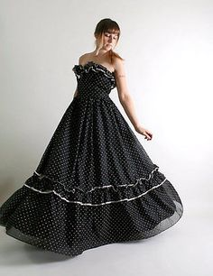 fae347d1cf4 Vintage Gunne Sax Jessica McClintock Black Polka Dot Maxi Fiesta Dress 9  Pin Up