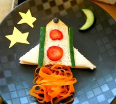 Simple and fun sandwich ideas. Great for fussy eaters. Food Art For Kids, Cooking With Kids, Toddler Meals, Kids Meals, Cute Food, Good Food, Space Snacks, Kid Sandwiches, Best Sandwich