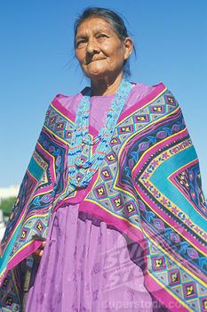 Native American Navajo woman in colorful beads and shawl, Los Angeles, CA