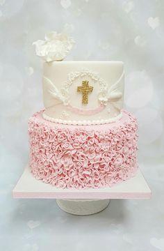 Ruffles christening cake  by Vanilla Iced