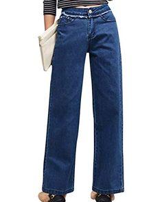92797ca737 Pantalones Anchos De La Pierna De Moda De Las Bastante Mujeres Suelta  Estiramiento Pantalones Vaqueros Largos