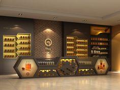 honey products shop on Behance Restaurant Interior Design, Shop Interior Design, Retail Design, Shoe Store Design, Jewellery Shop Design, Exhibition Stall Design, Showroom Design, Honey Store, Corporate Event Design