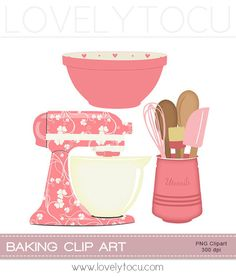 Kitchen Baking clipart set mixer, utensils and bowl digital PNG clip art (219). via Etsy.